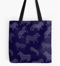 Shetland Fairisle Dancing Ponies - Dark blue Tote Bag