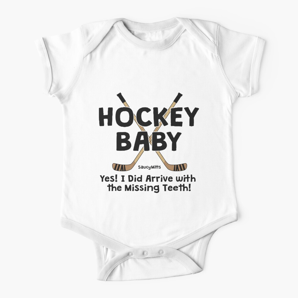 Hockey Baby Yes I Arrived With Missing Teeth Baby One-Piece