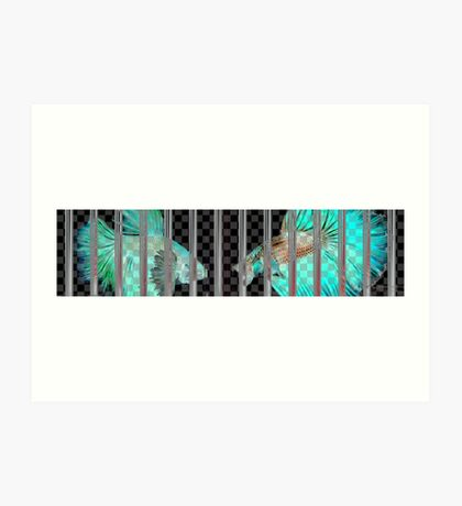 Negative Fish Behind Bars on Transparency Grid Art Print