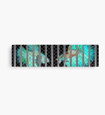 Negative Fish Behind Bars on Transparency Grid Canvas Print