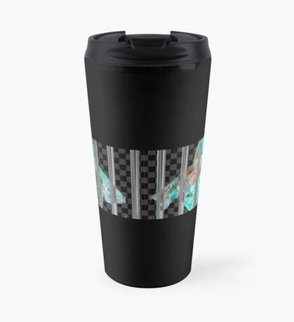 Negative Fish Behind Bars on Transparency Grid Travel Mug