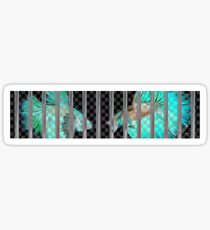 Negative Fish Behind Bars on Transparency Grid Sticker