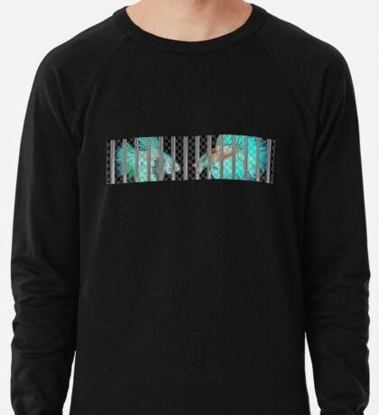 Negative Fish Behind Bars on Transparency Grid Lightweight Sweatshirt