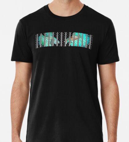 Negative Fish Behind Bars on Transparency Grid Premium T-Shirt