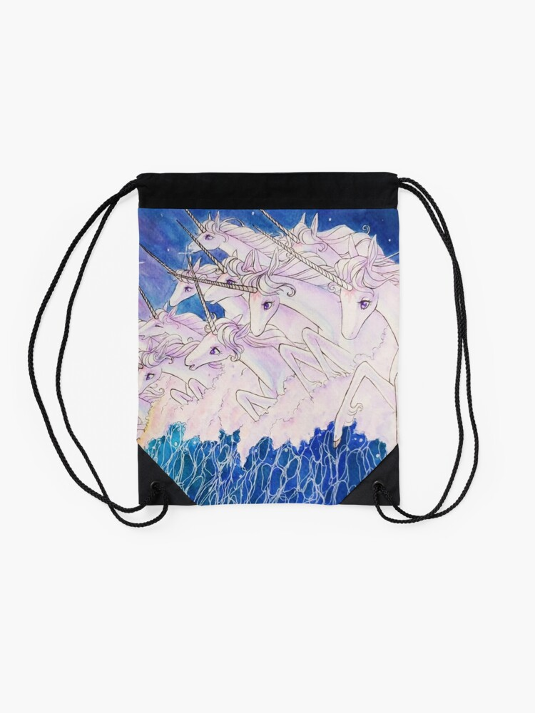Alternate view of Unicorns in the sea Drawstring Bag