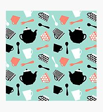 strawberry mint tea time pattern Photographic Print