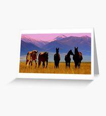 Loneliest Road In America Wild Horse Herd  Greeting Card