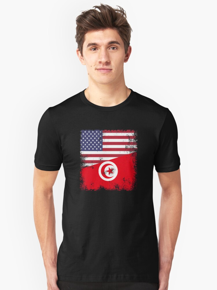 Half Tunisian Flag Design Vintage Tunisia Usa Gift T Shirt By Melsens Redbubble
