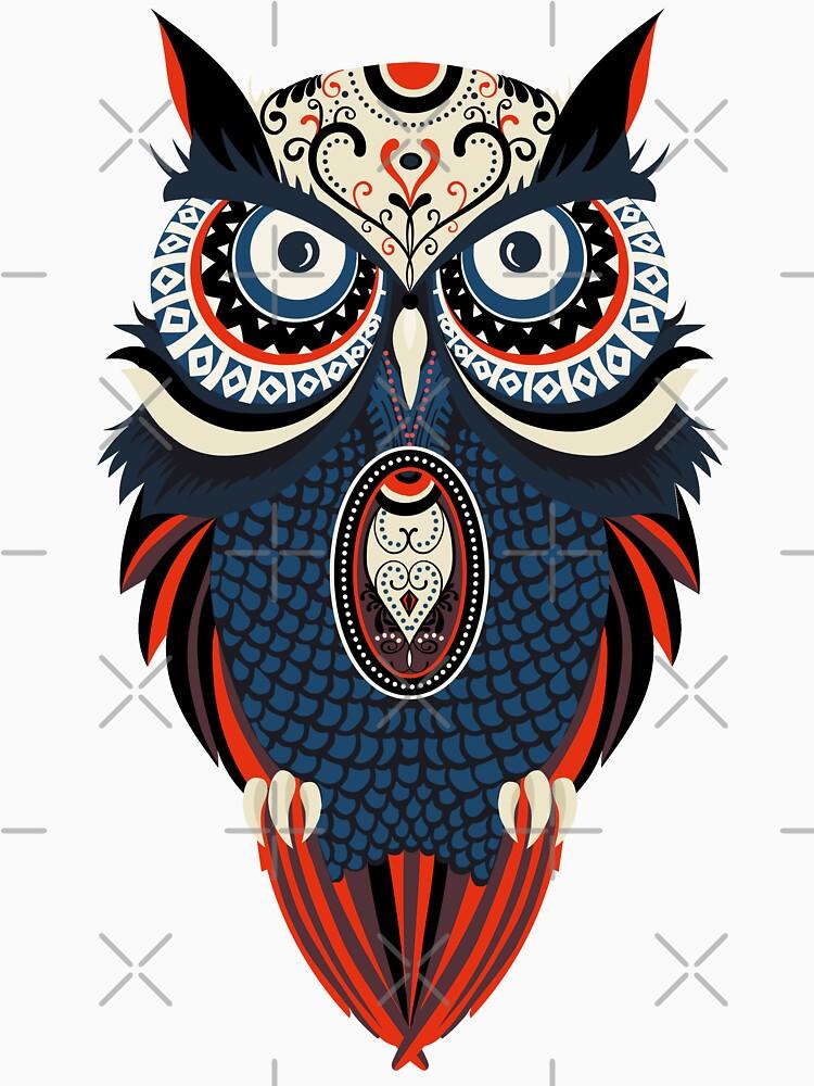 Tribal Mandala Eule Kunstwerk. von emphatic