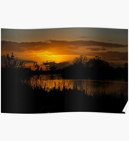 Sunset over the water, opened by David Attenborough  Poster