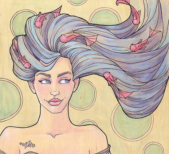 Tattooed Mermaid 7 by Karen  Hallion