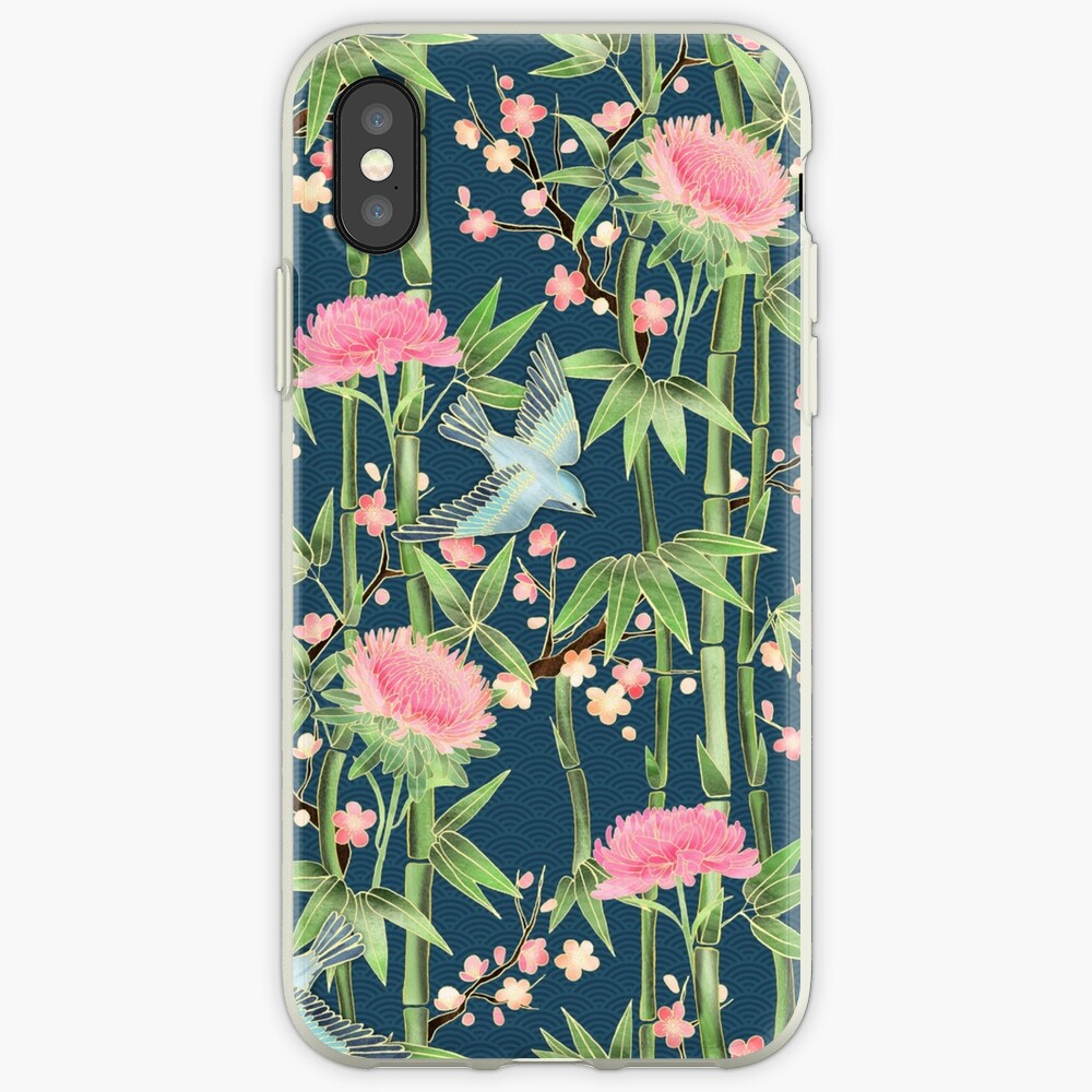 Bamboo, Birds and Blossom - dark teal iPhone Case & Cover