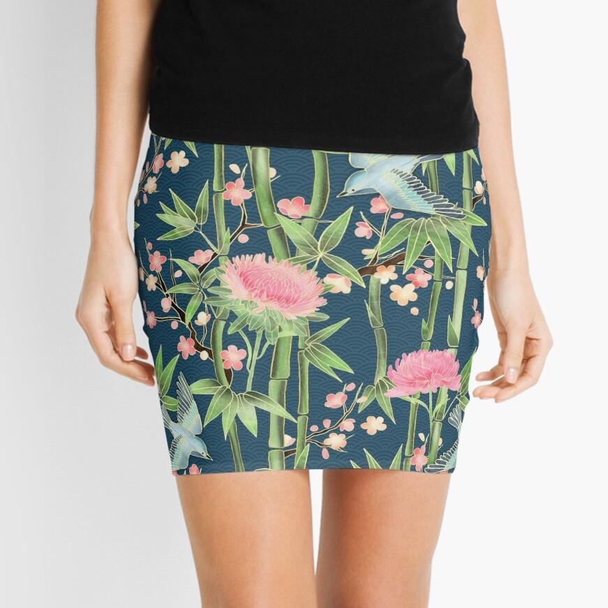Bamboo, Birds and Blossom - dark teal Mini Skirt