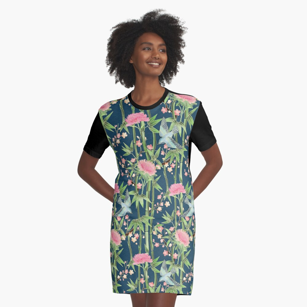 Bamboo, Birds and Blossom - dark teal Graphic T-Shirt Dress