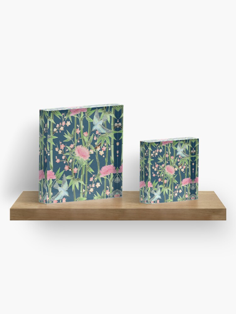 Alternate view of Bamboo, Birds and Blossom - dark teal Acrylic Block