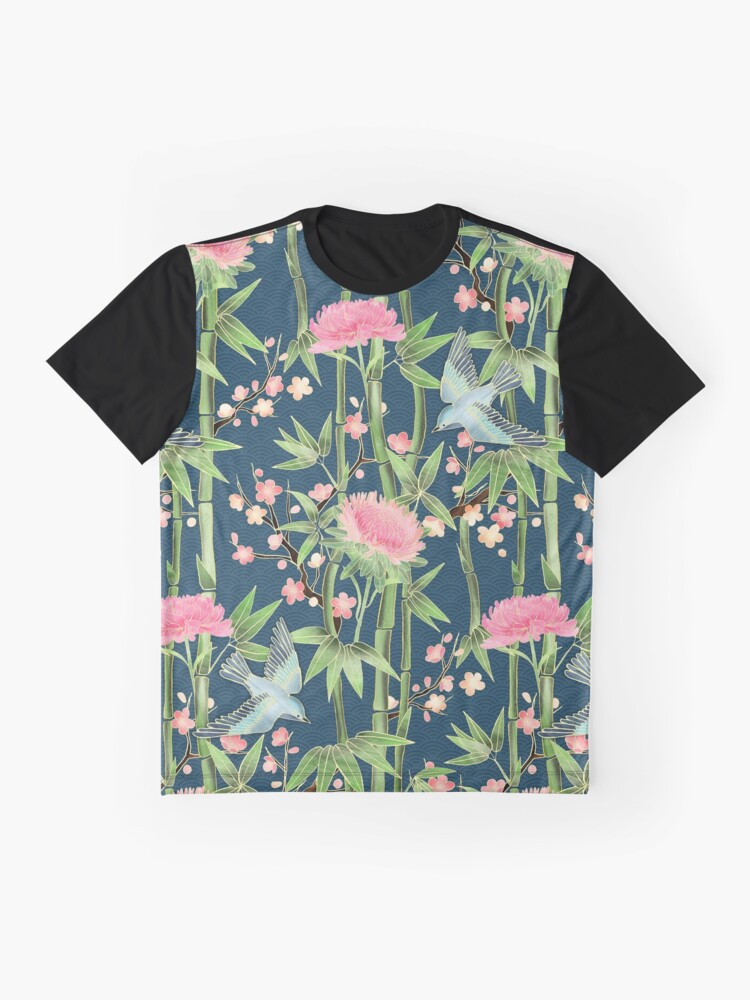 Alternate view of Bamboo, Birds and Blossom - dark teal Graphic T-Shirt