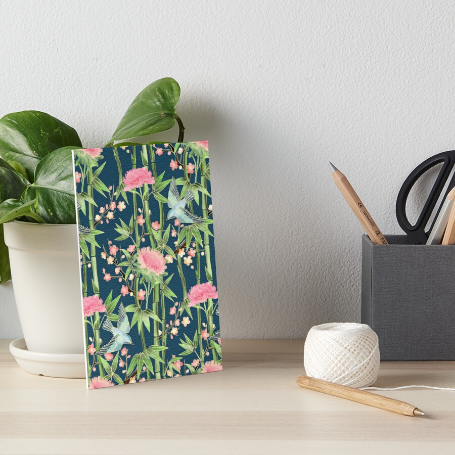 Bamboo, Birds and Blossom - dark teal Art Board Print