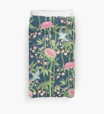 Bambus, Vögel und Blüte - dunkel blaugrün Bettbezug