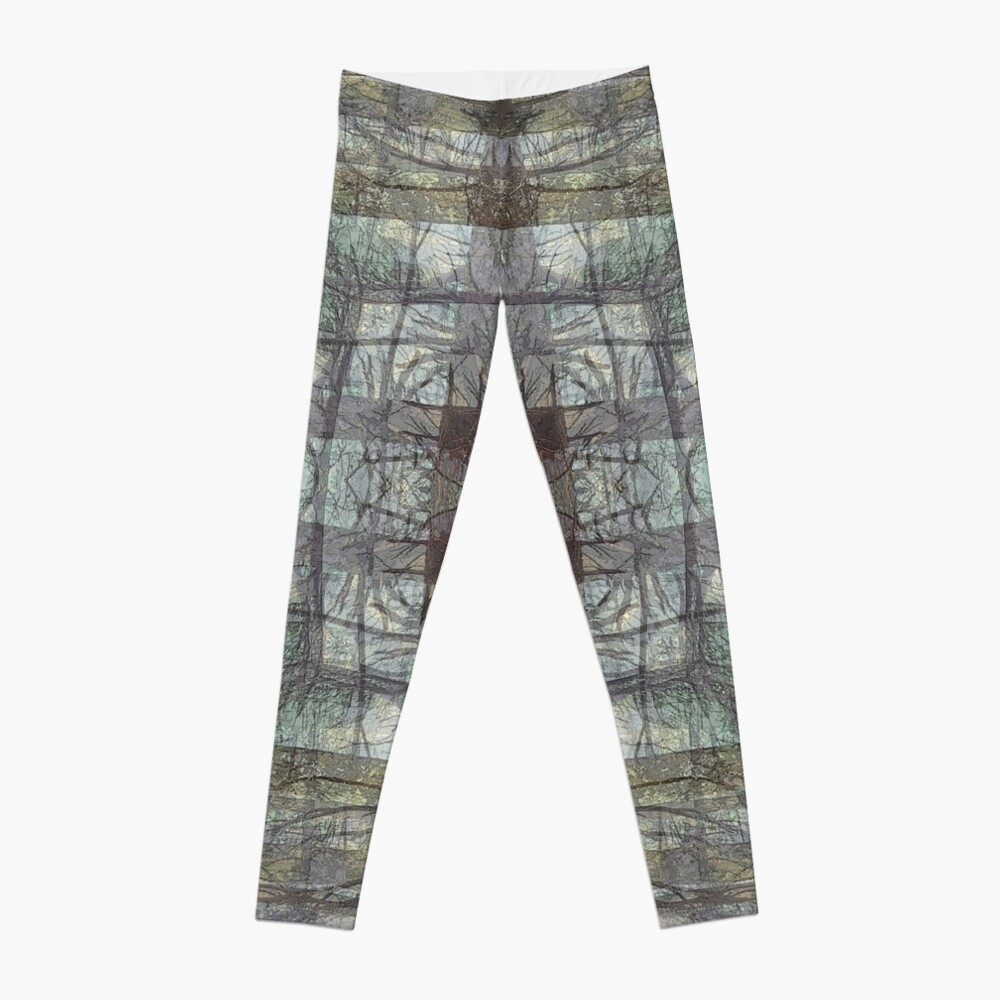 MISTY FOREST TREE TRUNKS PLAID PATTERN Leggings