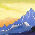 The Himalayas (Sonata overhead paint) Nicholas Roerich Painting, 1946, 30.2×45.6 cm by znamenski