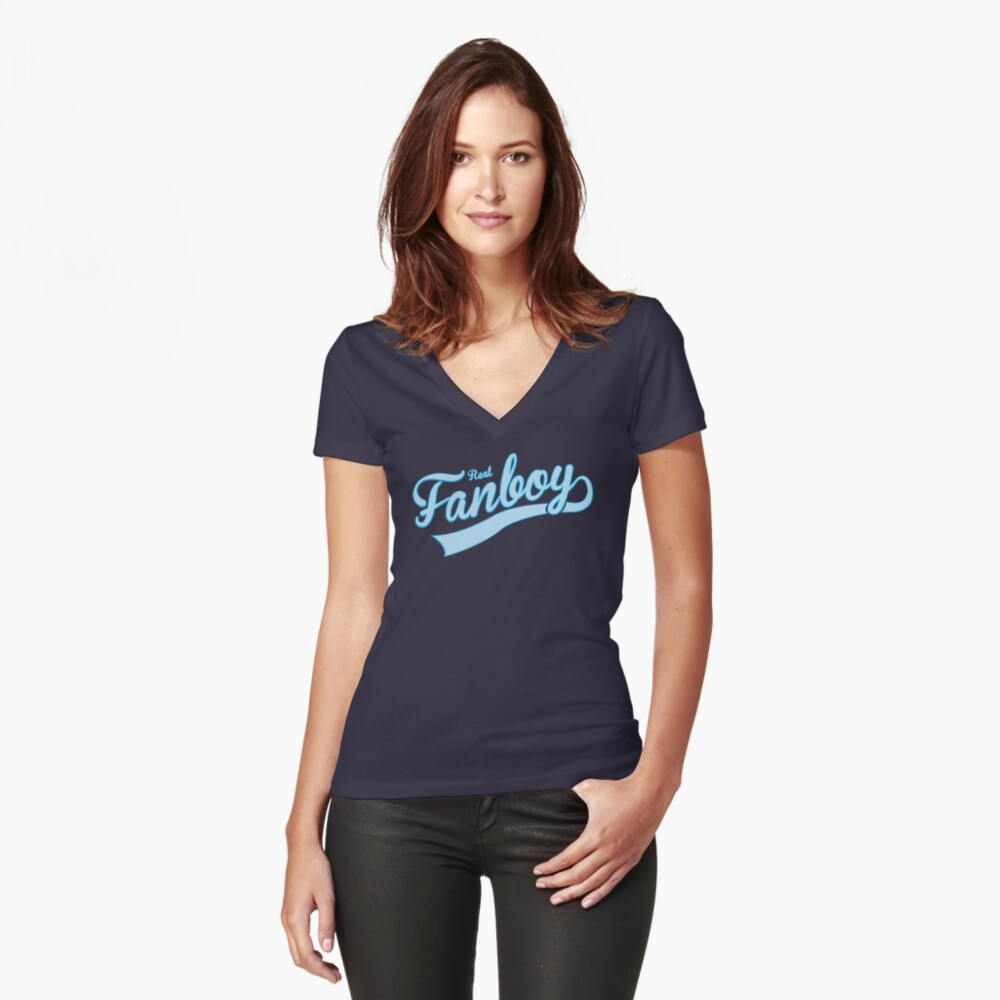 Wirklicher Fanboy Tailliertes T-Shirt mit V-Ausschnitt