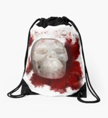 Crystal Skull With Red On Transparent Background Drawstring Bag
