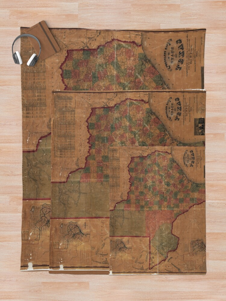 Alternate view of Pressler's Map of the State of Texas (1862) Throw Blanket