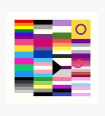 Lámina artística Collage de banderas de orgullo LGBT