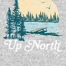 Vintage Up North Lake, Teal and White by GreatLakesLocal