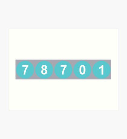 78701 Austin Zip Code Art Print
