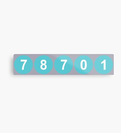 78701 Austin Zip Code Metal Print