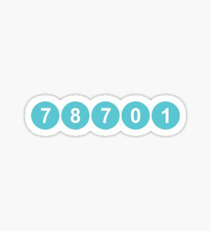 78701 Austin Zip Code Sticker