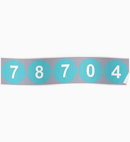 78704 Austin Zip Code Poster