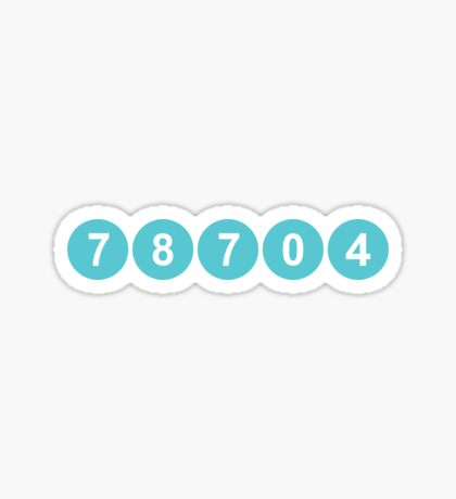 78704 Austin Zip Code Sticker