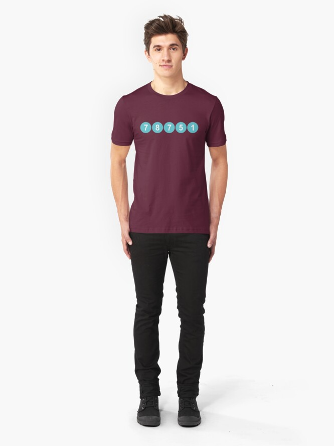 Alternate view of 78751 Austin Zip Code Slim Fit T-Shirt