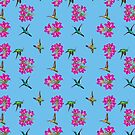 Birds and Bauhinia - Caribbean Blue by Land of the Hummingbird