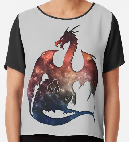 Galaxy Dragon Silhouette Chiffon Top