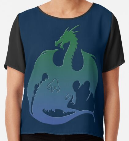 Blue Green Dragon Silhouette Chiffon Top