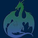 Blue Green Dragon Silhouette by ferinefire