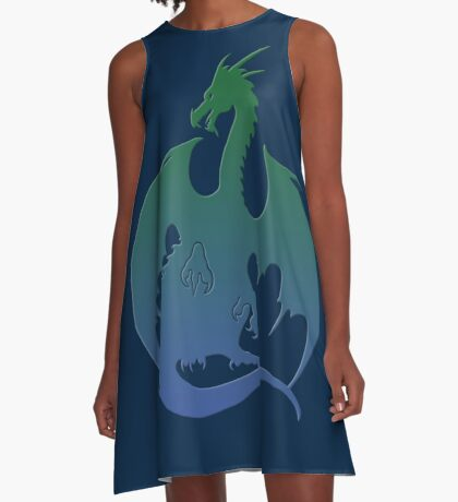 Blue Green Dragon Silhouette A-Line Dress