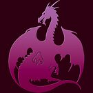 Pink Purple Dragon Silhouette by ferinefire