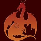 Red Orange Dragon Silhouette by ferinefire