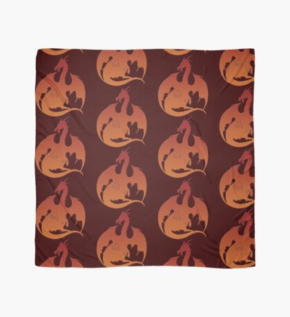 Red Orange Dragon Silhouette Scarf