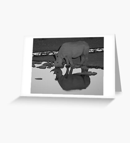 Black Rhino Reflection Greeting Card