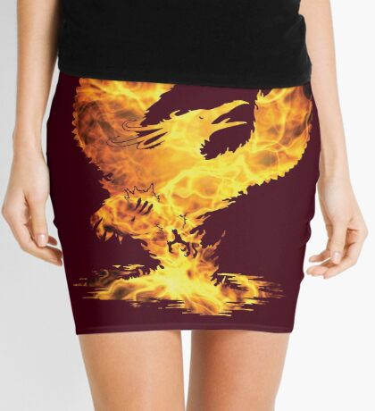 Phoenix Fire Silhouette Mini Skirt