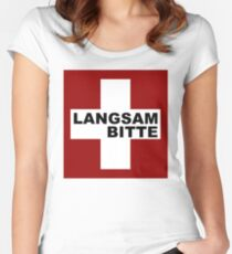 Swiss Flag (XLarge-design) Langsam Bitte  Women's Fitted Scoop T-Shirt