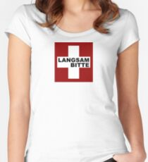 Swiss Flag (Medium-design) Langsam Bitte Women's Fitted Scoop T-Shirt