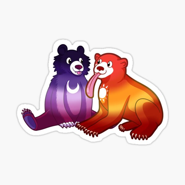 Sun Lesbian and Moon Lesbian Bears Sticker