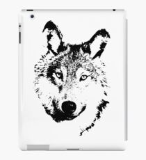 black and white, cartoon head of the beast, wolf iPad Case/Skin