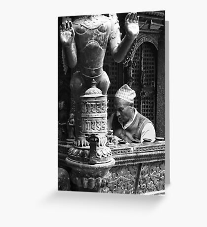 In prayer, Patan, Nepal Greeting Card